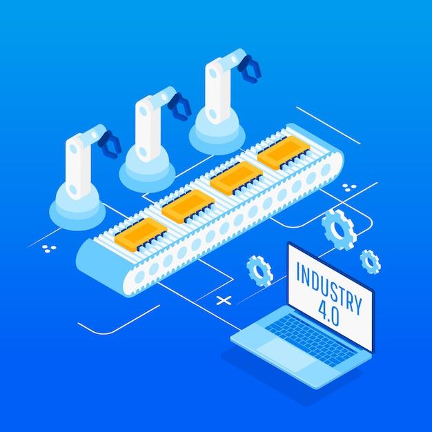 Indústria 4.0. automação de fábrica isométrica Vetor Premium