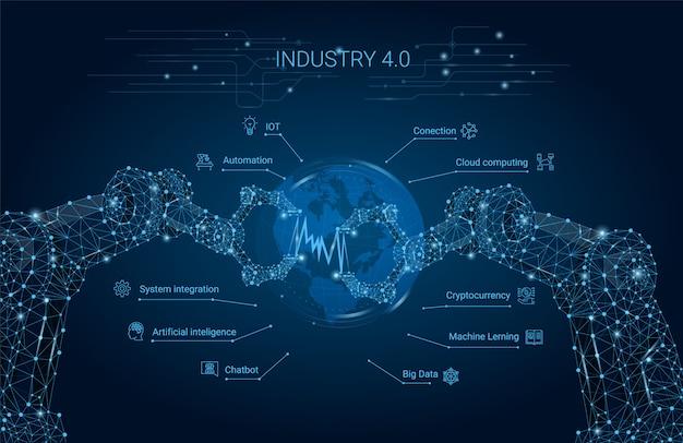 Indústria 4.0 com braço robótico. revolução industrial inteligente, automação, assistentes de robô. ilustração vetorial Vetor Premium