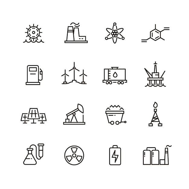 Indústria energética e ícones de linha industrial moderna de fábrica de energia Vetor Premium