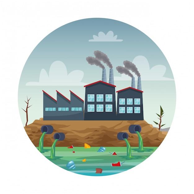 Indústria fabril poluindo a cena da água Vetor Premium