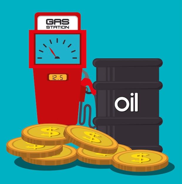 Indústria petrolífera e preços do petróleo Vetor grátis