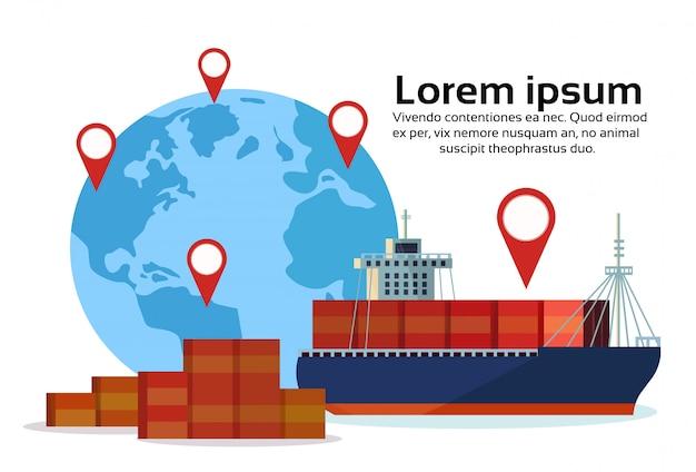 Industrial mar frete navio carga logística contêiner mapa do mundo geo tag navegação importação exportação água Vetor Premium