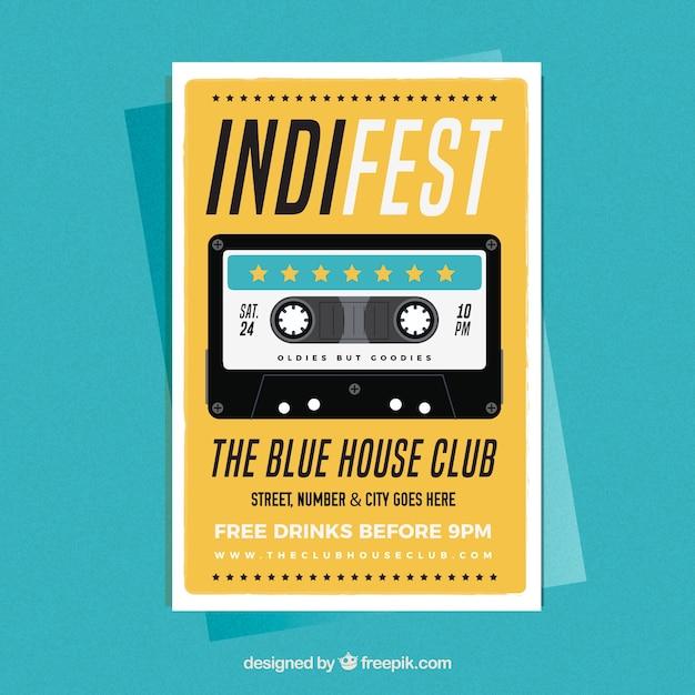 Indy music party poster Vetor grátis