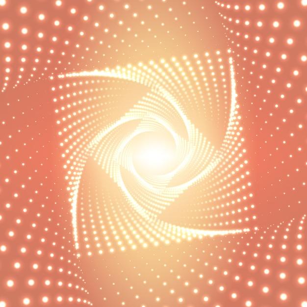Infinito rhombic ou quadrado túnel torcido de reflexos brilhantes em fundo laranja Vetor grátis