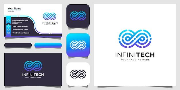 Infinity digital technology design de logotipo em loop modelo de vetor linear. Vetor Premium