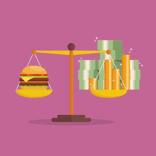 Inflação do dinheiro e equilíbrio burger na escala Vetor Premium