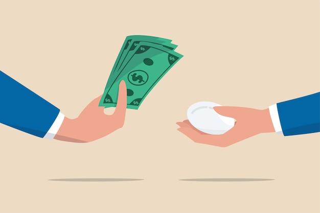Inflação, redução do valor do dinheiro para comprar o preço do produto ao consumidor ou conceito mais elevado de custo de suprimentos de alimentos Vetor Premium