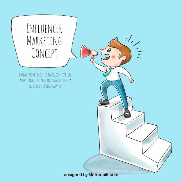 Influenciador de vetor de marketing com homem na escada Vetor grátis