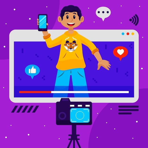 Influenciador gravando nova ilustração de vídeo Vetor grátis