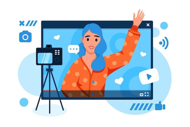 Influenciador gravando novo vídeo Vetor grátis