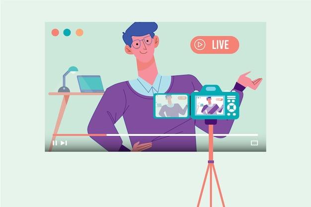 Influenciador gravando novo vídeo Vetor Premium