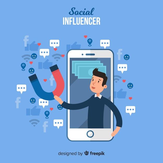 Influenciador social Vetor grátis