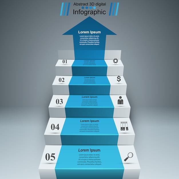 Infografia 3d e escada de negócios Vetor Premium