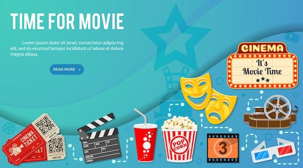 Infografia de banner de cinema e filme com pipoca de ícones, óculos, ingressos. Vetor Premium
