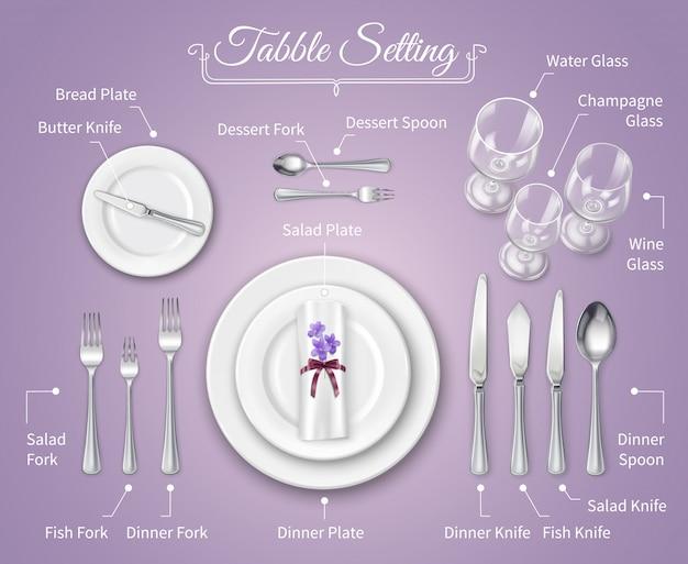 Infografia de configuração de lugar de jantar formal Vetor grátis
