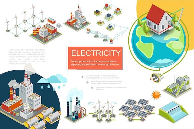 Infografia de eletricidade isométrica com combustível geotérmico usinas nucleares hidrelétricas fábrica de energia de biomassa moinhos de vento linha de transmissão elétrica ilustração de painéis solares Vetor grátis