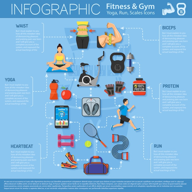Infografia de fitness e ginásio Vetor Premium