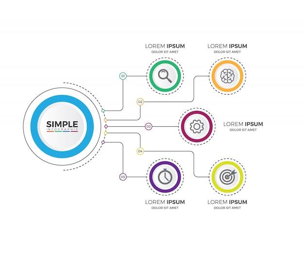 Infografia de gráfico de processo de negócios com 5 segmentos de passo Vetor Premium
