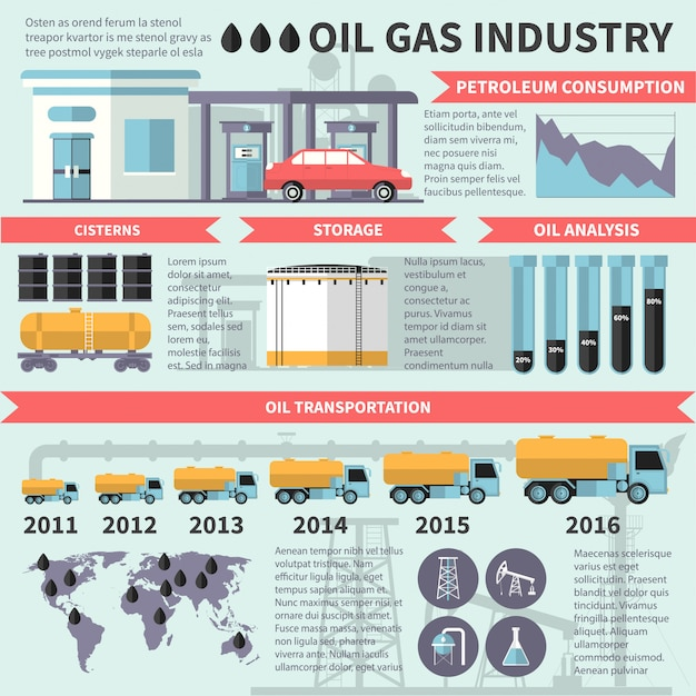 Infografia de indústria de óleo de gás Vetor grátis