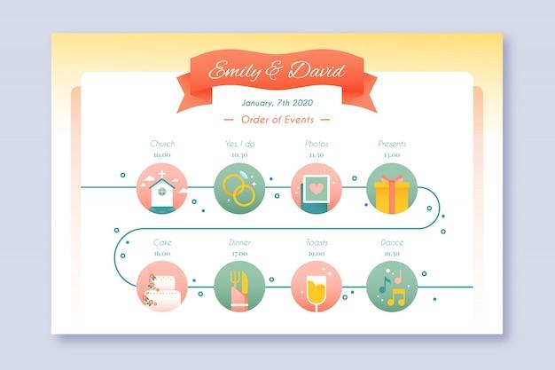 Infografia de linha do tempo do casamento em estilo linear Vetor grátis