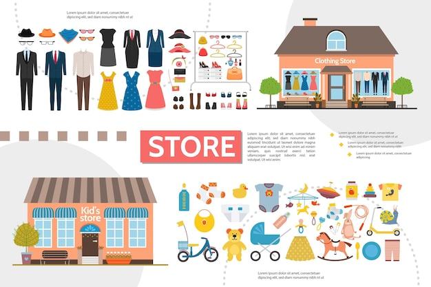 Infografia de lojas de roupas simples e infantis com ilustração de roupas femininas e masculinas, acessórios, brinquedos infantis Vetor grátis