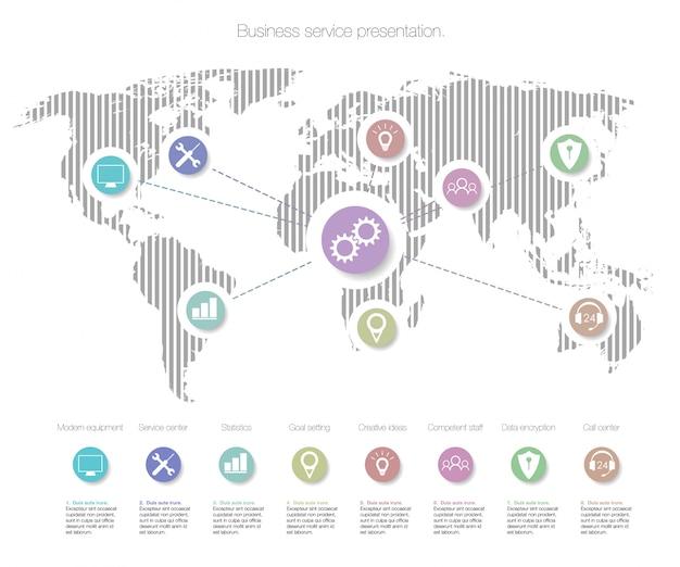 Infografia de modelo de serviços de negócios. elementos de infografia com o mapa do mundo. Vetor Premium