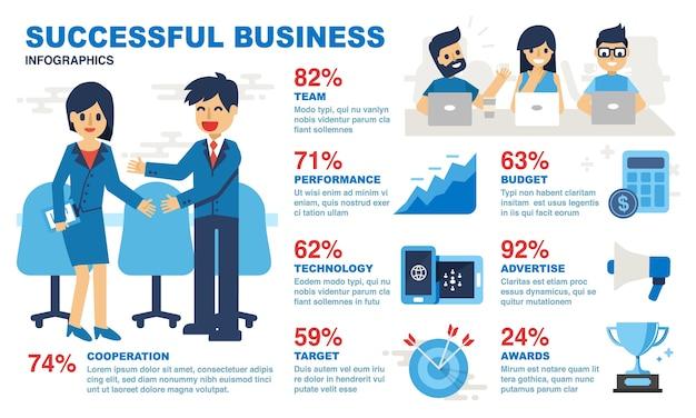 Infografia de negócio bem sucedido Vetor Premium