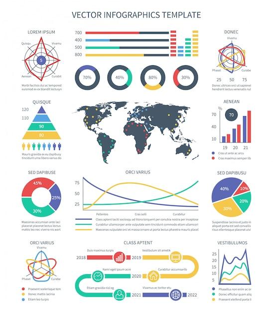 Infografia de negócios. gráficos de dados estatísticos, gráficos e elementos de visualização para apresentação. dados de apresentação de negócios, gráfico e gráfico, infográficos e estatística infocharts Vetor Premium