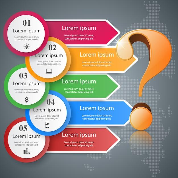 Infografia de negócios. ponto de interrogação. Vetor Premium