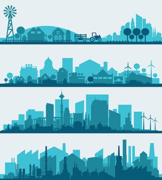 Infografia de paisagem urbana elegante abstrata. coleção de elementos de infográficos com distritos urbanos, urbanos, agrícolas e industriais Vetor Premium