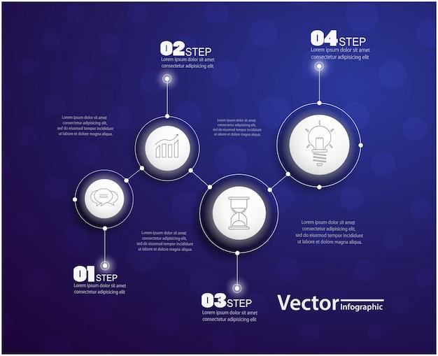 Infografia de quatro etapas com círculos Vetor Premium