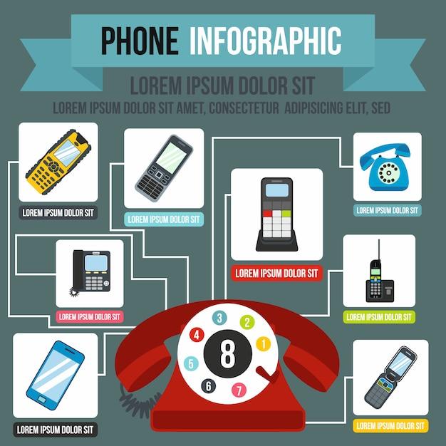 Infografia de telefone em estilo simples para qualquer design Vetor Premium