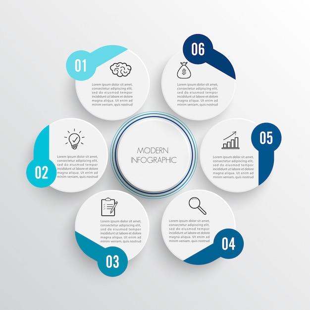 Infografia de vetor 6 opções Vetor Premium