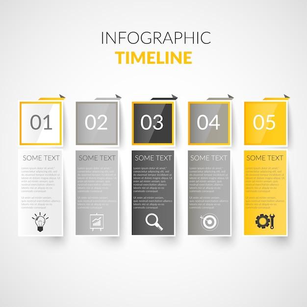 Infografia do tempo da linha de papel Vetor grátis