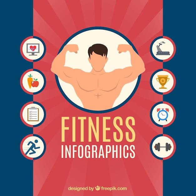 Infografia fitness com ícones Vetor grátis