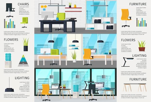 Infografia interior de local de trabalho Vetor grátis