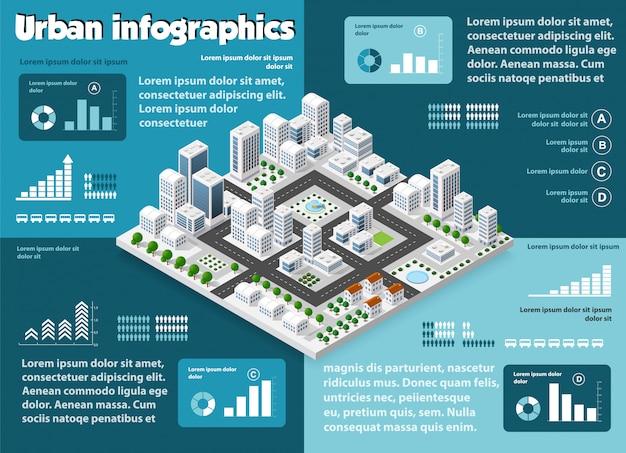 Infografia isométrica da cidade Vetor Premium