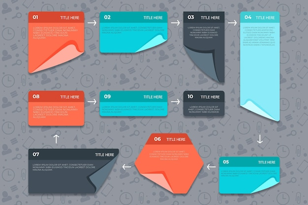 Infográfia linear post-its board Vetor Premium
