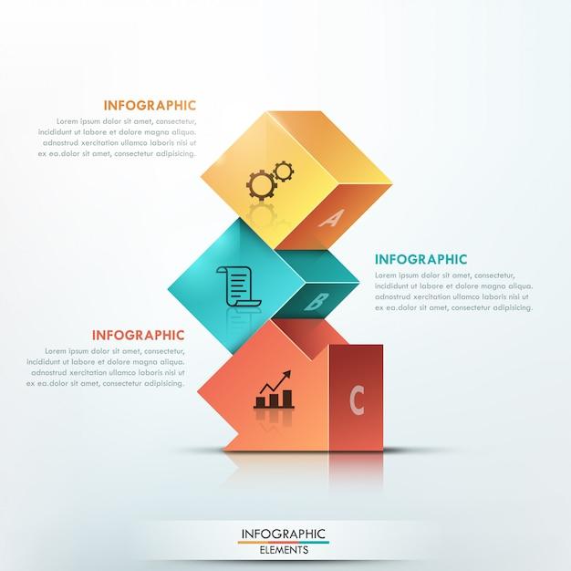 Infografia moderna 3d faixa de opções Vetor Premium