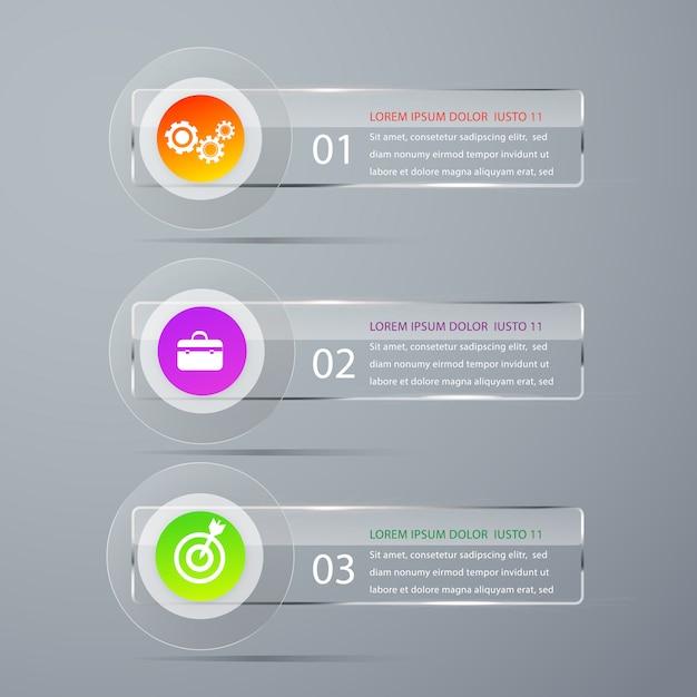 Infografia moderna bandeira vector modelo. Vetor Premium