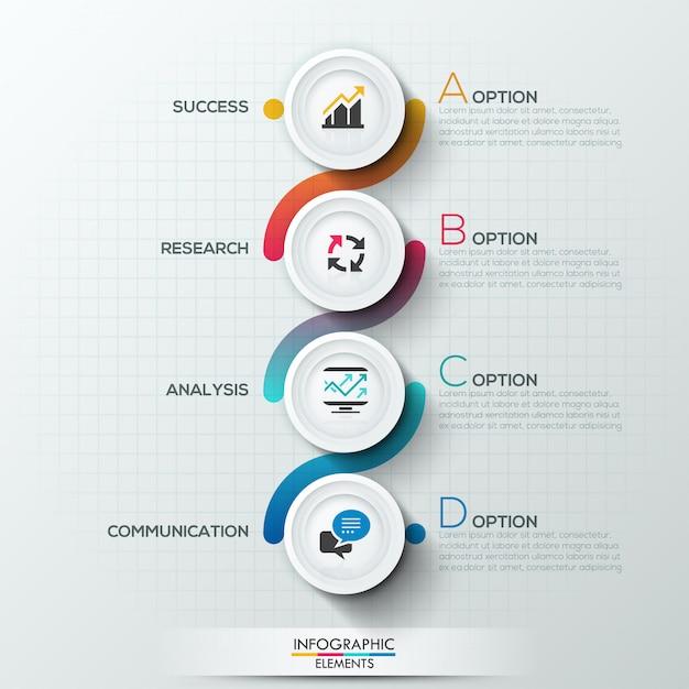 Infografia moderna modelo de processo com 4 círculos de papel Vetor Premium