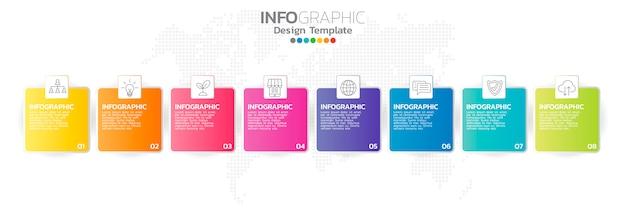 Infografia para o conceito de negócio com ícones e opções ou etapas. Vetor Premium