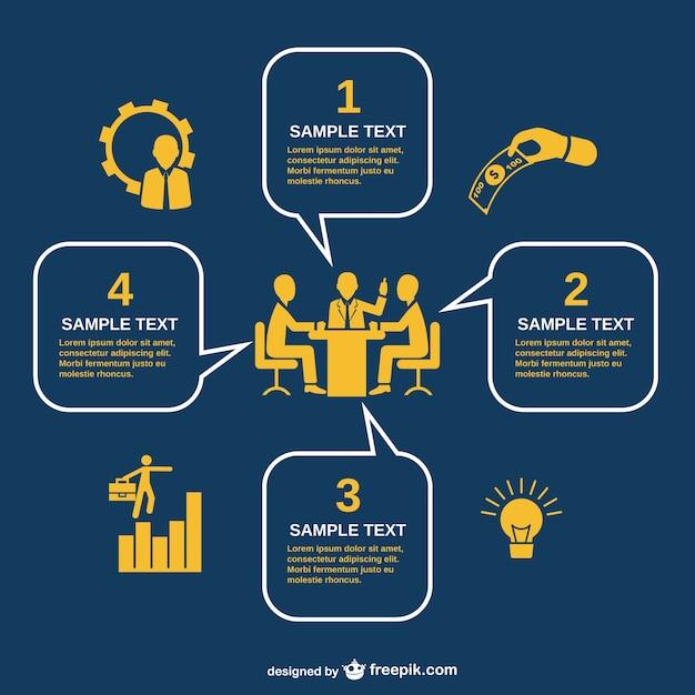 Infografia reunião de negócios Vetor grátis