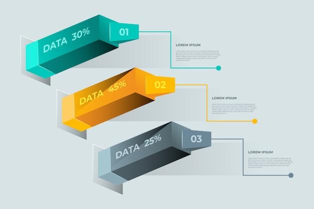 Infográfico 3d barras Vetor grátis