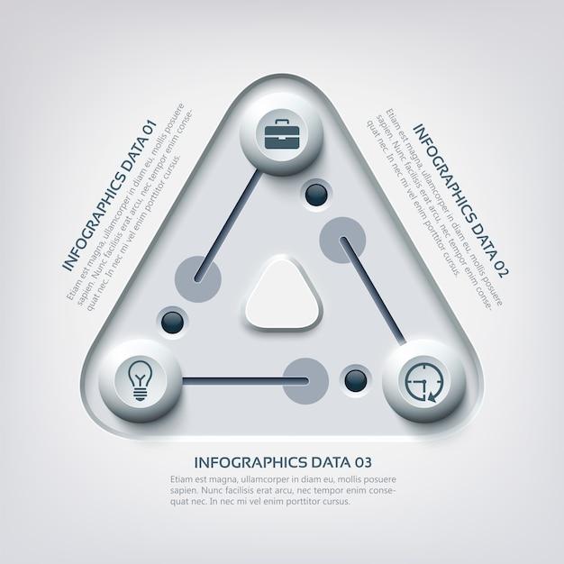Infográfico abstrato de negócios na web com triângulo de três etapas Vetor grátis