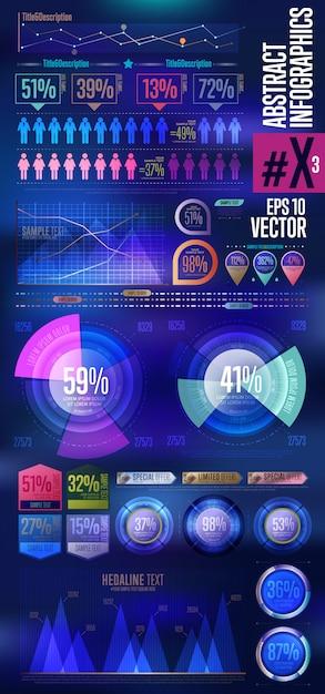 Infográfico abstrato elementos. Vetor Premium