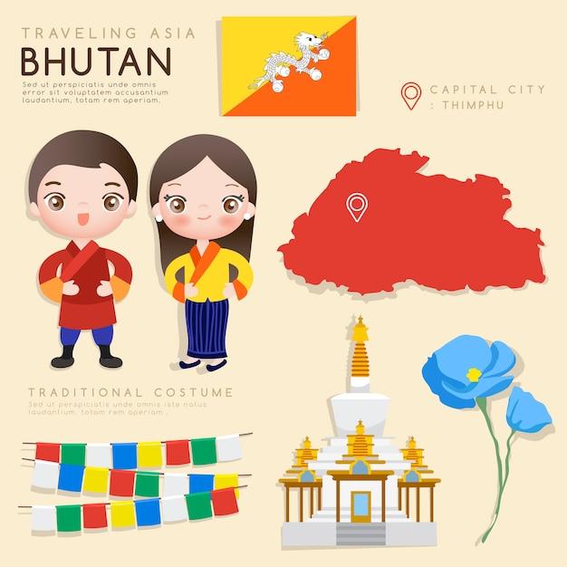 Infográfico asiático com trajes tradicionais e atrações turísticas. Vetor Premium