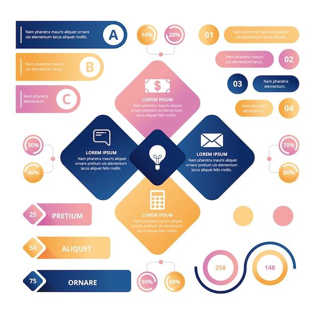 Infográfico brilhante 3d conceito de coleção Vetor grátis