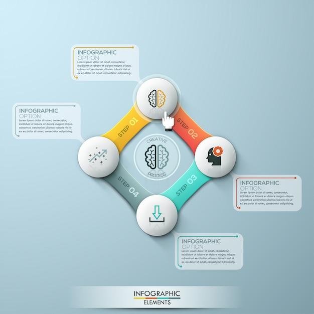 Infográfico ciclo de quatro opções. stock vector Vetor Premium