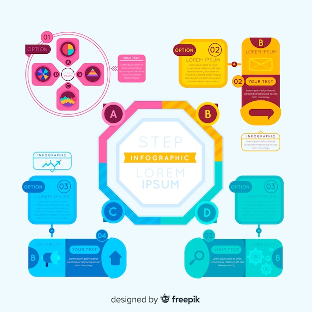Infográfico colorido com etapas Vetor grátis